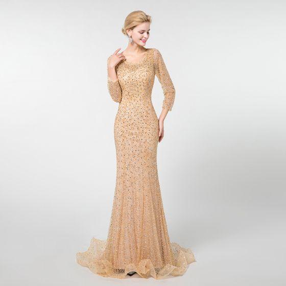 Luxus / Herrlich Champagner Abendkleider 2019 Meerjungfrau Rundhalsausschnitt 3/4 Ärmel Handgefertigt Perlenstickerei Sweep / Pinsel Zug Rüschen Rückenfreies Festliche Kleider