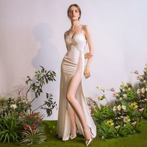 Sexy Ivory Evening Dresses  2018 Trumpet / Mermaid Spaghetti Straps Sleeveless Beading Sequins Split Front Floor-Length / Long Backless Formal Dresses