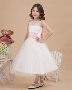 Satin Organza Bateau Tea Length Flower Girl Dresses
