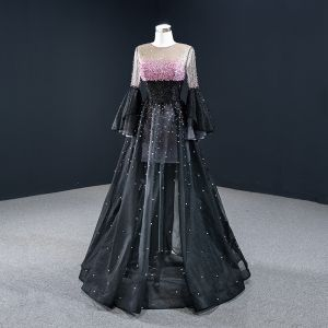 Luxury / Gorgeous Black Dancing Prom Dresses 2020 A-Line / Princess See-through Scoop Neck Bell sleeves Candy Pink Beading Sequins Floor-Length / Long Ruffle Formal Dresses