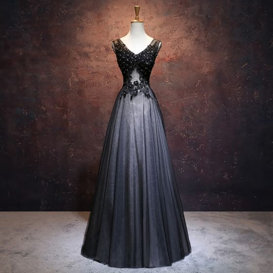 Chic / Beautiful Black Prom Dresses 2017 A-Line / Princess V-Neck Sleeveless Appliques Lace Flower Rhinestone Beading Floor-Length / Long Ruffle Backless Pierced Formal Dresses