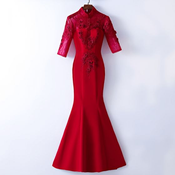 Chic / Beautiful Red Evening Dresses  2017 Trumpet / Mermaid Lace Flower High Neck Zipper Up 1/2 Sleeves Floor-Length / Long Evening Party