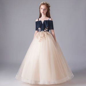 Chic / Beautiful Champagne Birthday Flower Girl Dresses 2020 Ball Gown Spaghetti Straps Off-The-Shoulder Short Sleeve Backless Flower Appliques Lace Floor-Length / Long Ruffle