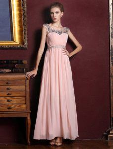 Empire Formal Gown Beading Crystal Ruffle Chiffon Pink Evening Dress With Rhinestone