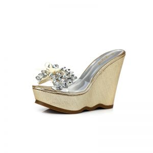Sexy Jardin / Extérieur Sandales Femme 2017 Noeud Faux Diamant Compensées Peep Toes / Bout Ouvert Sandales