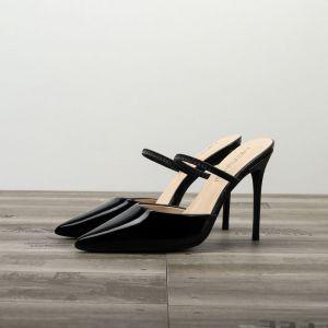 Chic / Belle Noire Rendez-vous Sandales Femme 2020 Cuir Verni 10 cm Talons Aiguilles À Bout Pointu Sandales