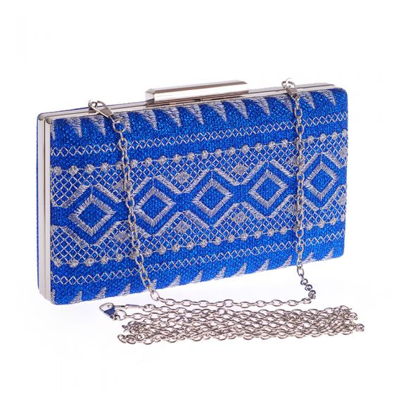Traditional Royal Blue Embroidered Metal Clutch Bags 2018