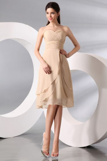2015 Knee-length Sleeveless Champagne Bridesmaid Dresses
