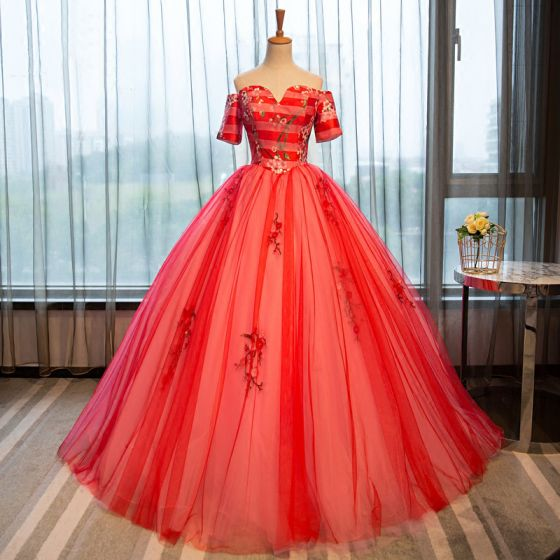 Elegant Watermelon Quinceañera Prom Dresses 2018 Ball Gown Printing Sweetheart Backless Short Sleeve Floor-Length / Long Formal Dresses