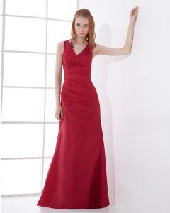 Mode Taft Geplooide V-hals Vloerlengte Bruidsmeisjes Jurken
