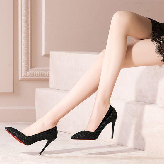 Moderne / Mode Noire 2017 Talons Hauts 10 cm Glitter Paillettes Escarpins Cocktail Soirée Chaussures Femmes