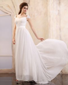 Sleeveless Chiffon Beading Ruffles V-Neck Floor Length Evening Dresses