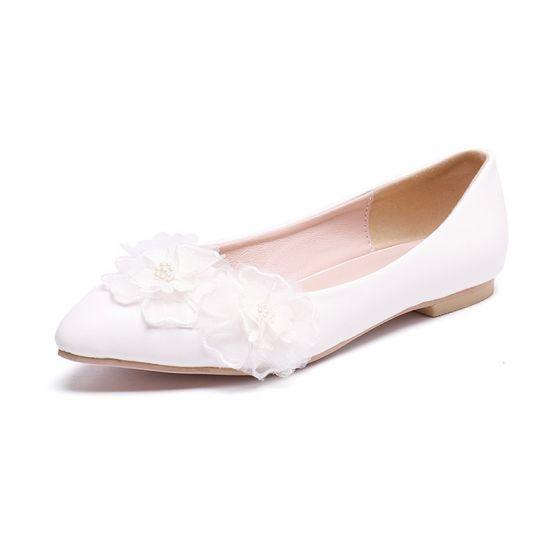 Asequible Marfil Casual Planos Zapatos De Mujer 2020 Con Encaje Punta Estrecha