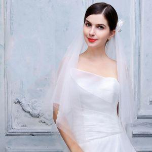 Schöne 2017 Abend Weiß Applikationen Tülle Brautschleier