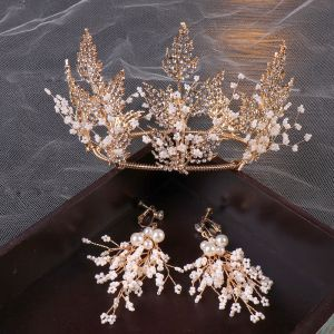 Transparent Doré Bijoux Mariage 2020 Métal Perlage Faux Diamant Tiare Boucles D'Oreilles Accessoire Cheveux Mariage