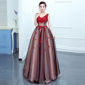 Flower Fairy Red Prom Dresses 2020 Ball Gown V-Neck Sleeveless Appliques Flower Beading Sash Floor-Length / Long Ruffle Backless Formal Dresses