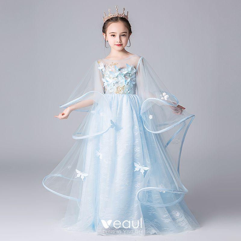 Elegantes Azul Cielo Transparentes Vestidos Para Niñas 2019 A Line Princess Scoop Escote Mangas De Campana Apliques Flor Largos Ruffle Sin Espalda