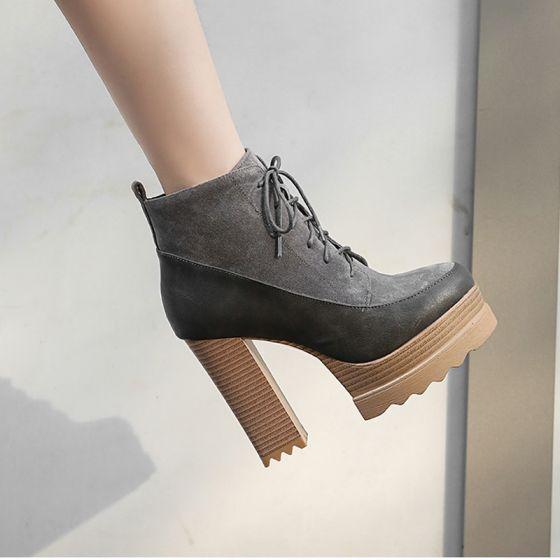 Mode Grå Streetwear Suede Støvler Dame 2021 Støvletter / Ankelstøvler 11 cm Tykke Hæle Runde Tå Støvler
