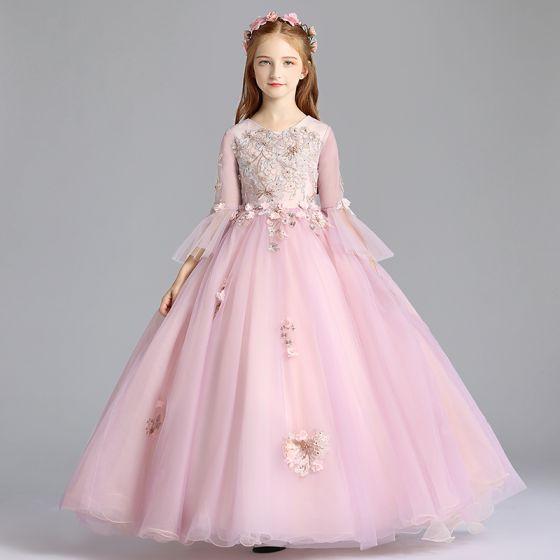 339268ff5 Elegantes Rosa Clara Vestidos para niñas 2019 A-Line / Princess Scoop  Escote Mangas de campana Apliques ...
