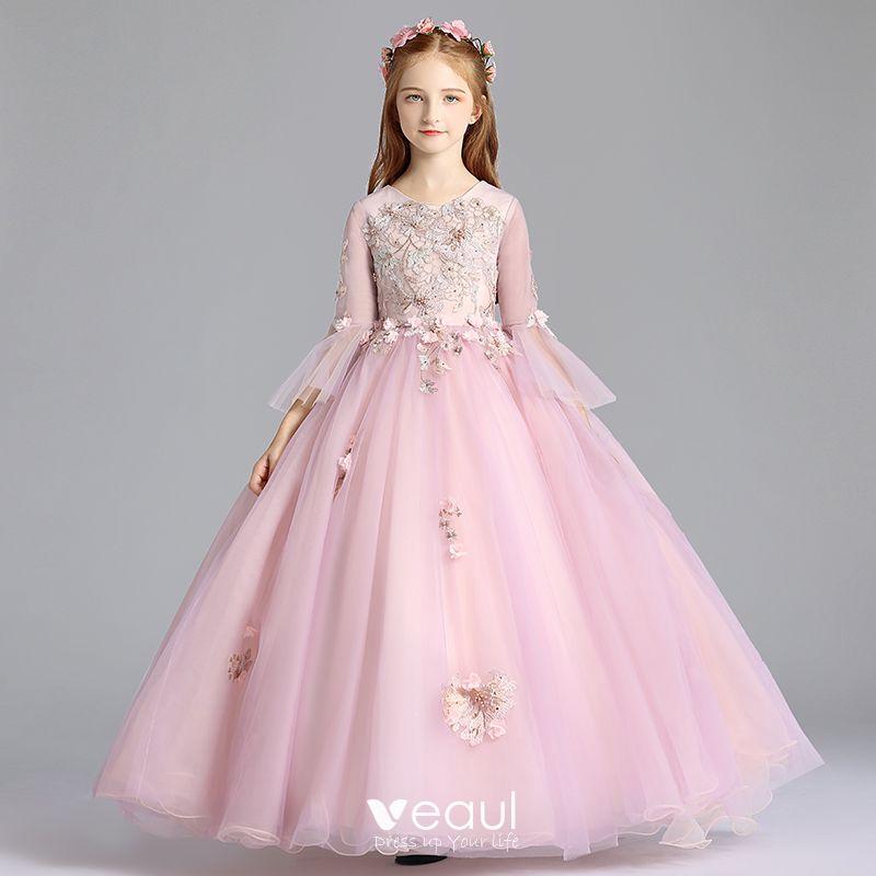 Elegantes Rosa Clara Vestidos Para Ninas 2019 A Line Princess Scoop Escote Mangas De Campana Apliques
