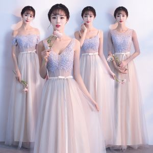 Elegant Champagne Bridesmaid Dresses 2019 A-Line / Princess Appliques Lace Sash Floor-Length / Long Backless Wedding Party Dresses