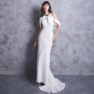 Classic Elegant White Evening Dresses  2018 Trumpet / Mermaid Halter Backless Evening Party Formal Dresses