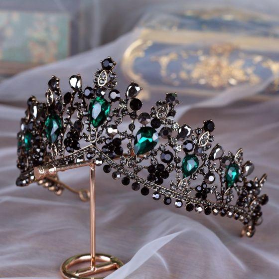Vintage / Retro Baroque Black Tiara Bridal Hair Accessories 2020 Alloy Dark Green Rhinestone Accessories