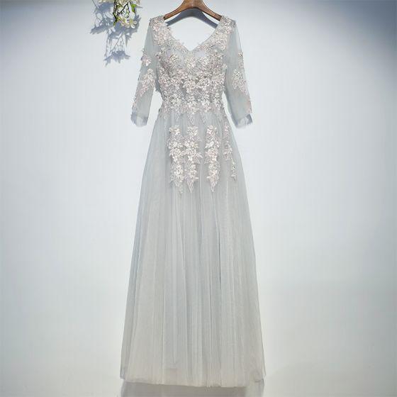 Modest / Simple Grey Bridesmaid Dresses 2017 A-Line / Princess Lace Flower Sequins Backless V-Neck 3/4 Sleeve Ankle Length Wedding Party Dresses