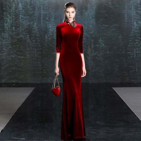 Chinese style Burgundy Velour Winter Cheongsam / Qipao Evening Dresses  2020 Trumpet / Mermaid High Neck 3/4 Sleeve Appliques Lace Floor-Length / Long Formal Dresses