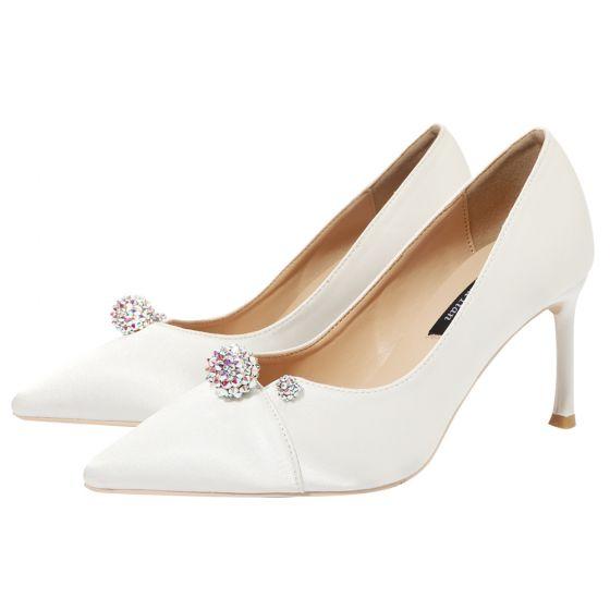 Chic Ivoire Satin Faux Diamant Chaussure De Mariée 2020 9 cm Talons Aiguilles À Bout Pointu Mariage Escarpins