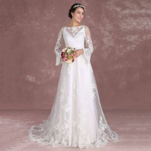 Piękne Białe Suknie Ślubne 2018 Princessa Kwadratowy Dekolt Długie Rękawy Bez Pleców Aplikacje Z Koronki Trenem Sweep