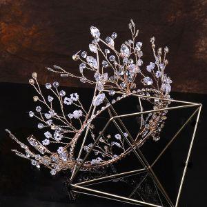 Elegante Oro Tiara Tocados de novia 2020 Metal Rebordear Crystal Rhinestone Boda Accesorios