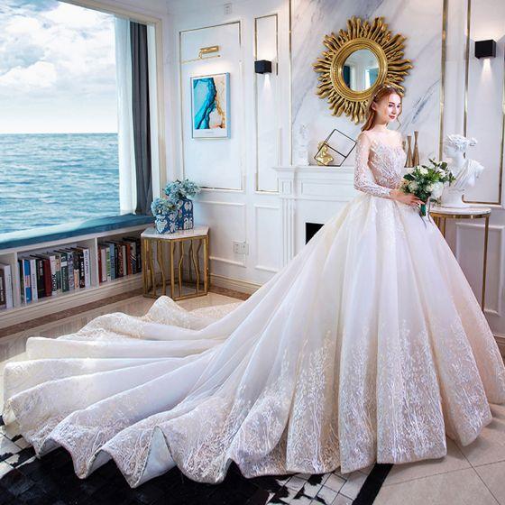 Elegant Ivory Wedding Dresses 2019 A-Line / Princess Scoop Neck Lace Flower 3/4 Sleeve Backless Cathedral Train