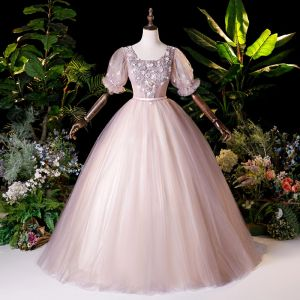 Vintage Rosa Tanzen Ballkleider 2020 Ballkleid Eckiger Ausschnitt Geschwollenes Kurze Ärmel Applikationen Spitze Perlenstickerei Perle Lange Rüschen Rückenfreies Festliche Kleider