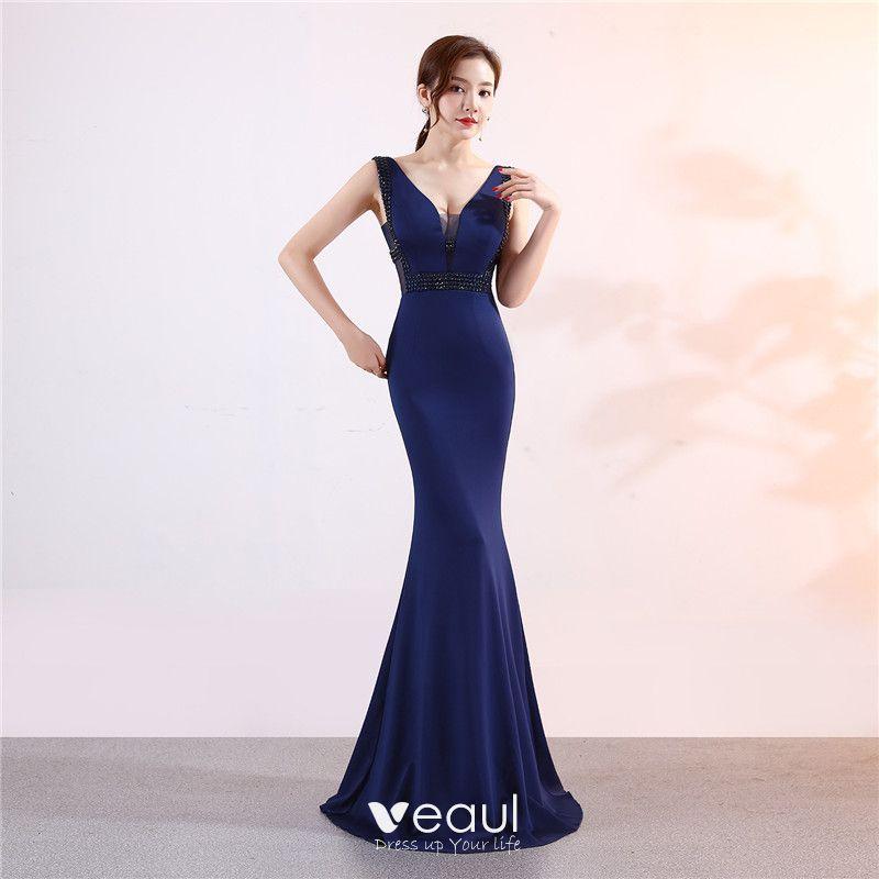 d67e16ef Piękne Granatowe Sukienki Wieczorowe 2019 Syrena / Rozkloszowane V ...