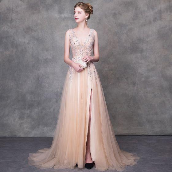 Lyx Champagne Aftonklänningar 2018 Prinsessa Beading Paljetter V-Hals Halterneck Ärmlös Svep Tåg Formella Klänningar
