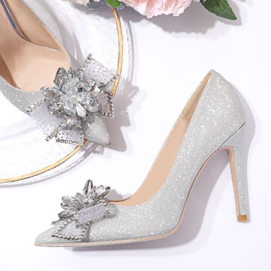 Charmant Zilveren Glans Rhinestone Strik Bruidsschoenen 2020 Pailletten 10 cm Naaldhakken / Stiletto Spitse Neus Huwelijk Pumps