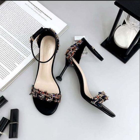 Affordable Black Casual Womens Sandals 2019 Ankle Strap 7 cm Stiletto Heels Open / Peep Toe Sandals