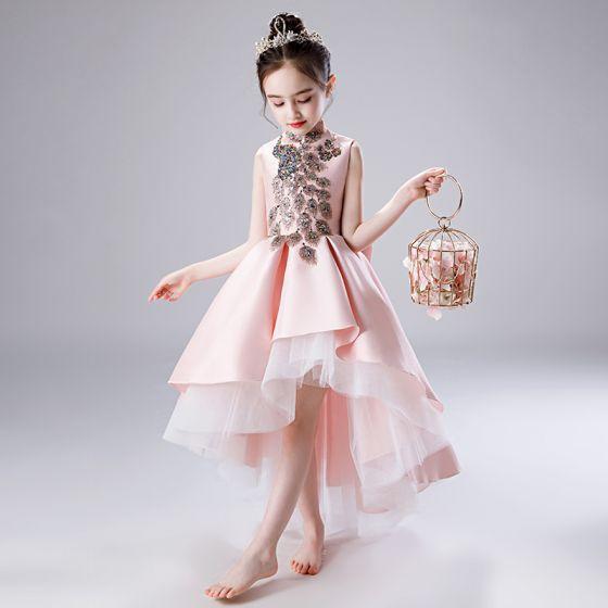 Hermoso Rosa Clara Satén Vestidos para niñas 2020 A-Line / Princess Cuello Alto Sin Mangas Bowknot Lentejuelas Rebordear Asimétrico Ruffle Vestidos para bodas