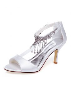Beautiful Wedding Sandals With Ankle Strap Stilettos P Toe Bridal Shoes Rhinestone Tel