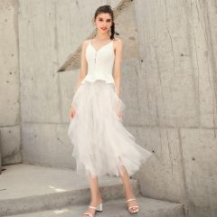 Chic / Beautiful White Summer Homecoming Graduation Dresses 2019 A-Line / Princess Spaghetti Straps Sleeveless Tea-length Ruffle Backless Formal Dresses