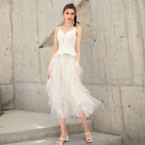 Chic / Beautiful White Summer Homecoming Graduation Dresses 2019 A-Line / Princess Spaghetti Straps Sleeveless Tea-length Ruffle Backless Formal Dresses