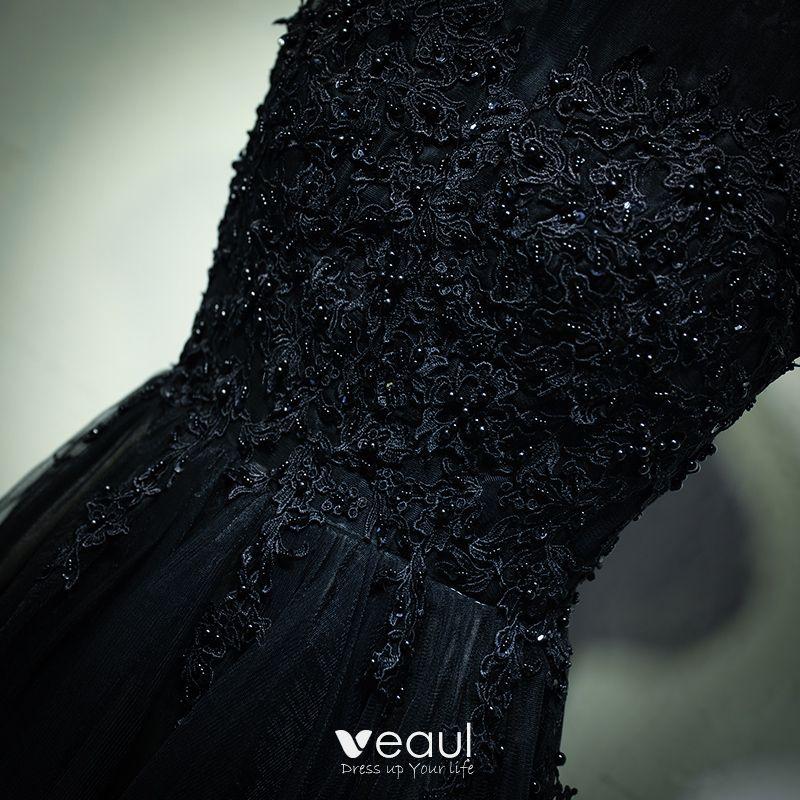 Chic / Beautiful Black Formal Dresses Evening Dresses  2017 Lace Flower Pearl Zipper Up Sleeveless Short A-Line / Princess