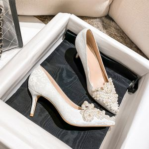 Chic Ivoire Faux Diamant Perle Chaussure De Mariée 2020 7 cm Talons Aiguilles À Bout Pointu Mariage Escarpins