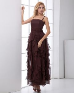 Fashion Chiffon Layered Ruffle Spaghetti Strap Sleeveless Floor Length Prom Dress