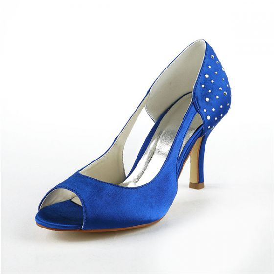 Chic Blue Bridal Shoes Peep Toe Stiletto Heels Pumps With Rhinestone