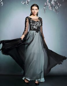 2015 Malay Satin Chiffon Beading Evening Dress