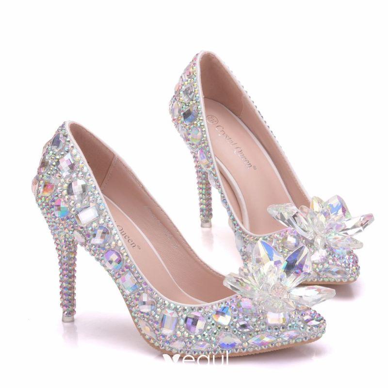 Sparkly Silver Wedding Shoes 2018 Crystal Rhinestone 9 cm Stiletto Heels  Round Toe Wedding Pumps bd2794524f44