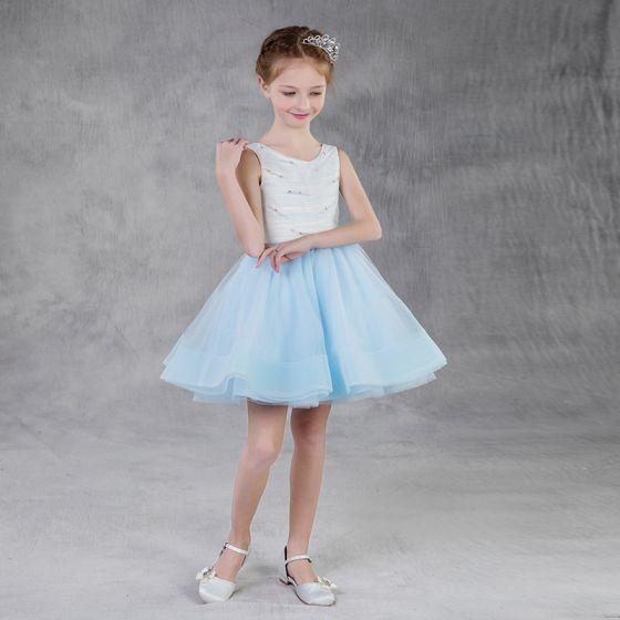 Stylowe / Modne Błękitne Lato Sukienki Dla Dziewczynek 2018 Princessa Wycięciem Bez Rękawów Perła Rhinestone Krótkie Wzburzyć Sukienki Na Wesele