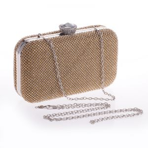 Chic / Beautiful Gold Rhinestone Metal Clutch Bags 2018